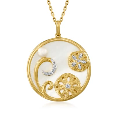 Mother-Of-Pearl and 4mm Cultured Pearl Sand Dollar Pendant Necklace with Diamond Accents in 18kt Gold Over Sterling