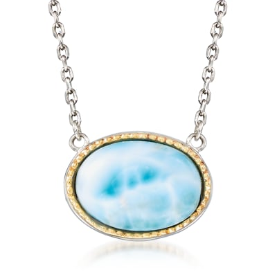 Larimar Necklace in Sterling Silver with 14kt Yellow Gold