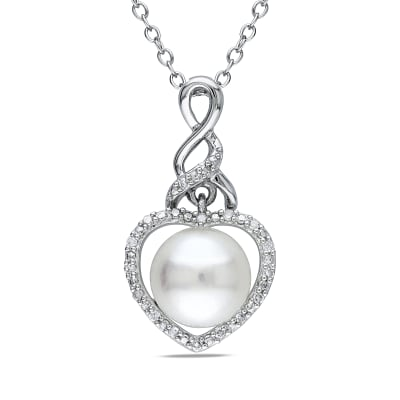8-8.5mm Cultured Button Pearl Pendant Necklace with Diamond Accents in Sterling Silver