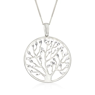 Italian Sterling Silver Cut-Out Tree of Life Pendant Necklace