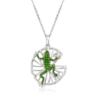 .90 ct. t.w. Green Chrome Diopside Frog Pendant Necklace in Sterling Silver