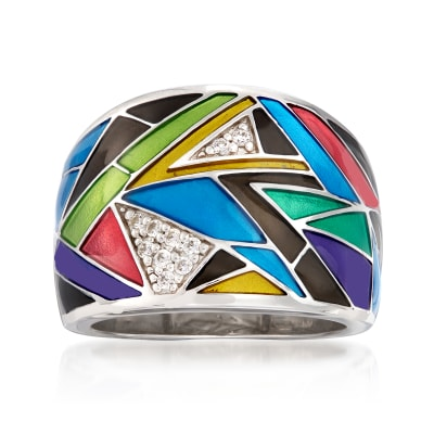 "Belle Etoile ""Chromatica"" Black and Multicolored Enamel Ring with .11 ct. t.w. CZs in Sterling Silver"