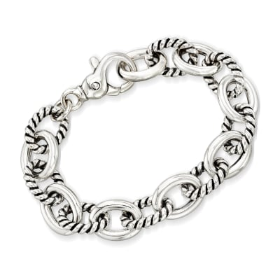 Zina Sterling Silver Twisted Combination Link Bracelet