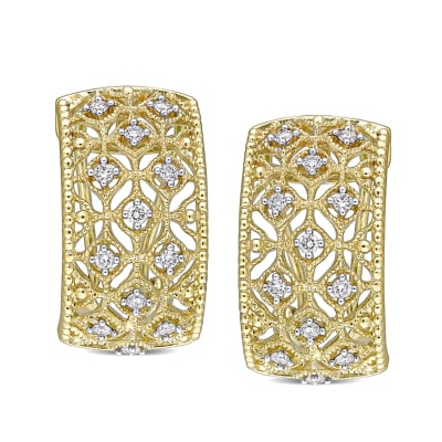 .33 ct. t.w. Diamond Milgrain Openwork Half-Hoop Earrings in 14kt Yellow Gold