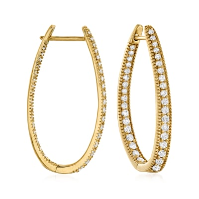 1.50 ct. t.w. Diamond Inside-Outside Oval Hoop Earrings in 14kt Yellow Gold