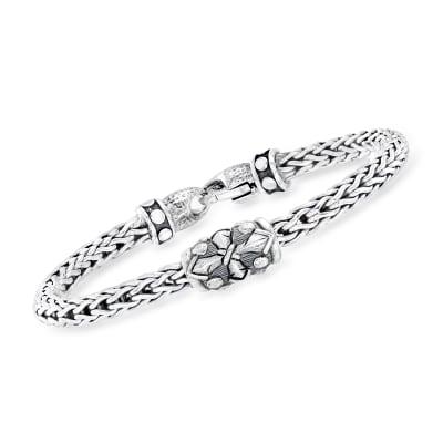 "Phillip Gavriel Men's ""Woven"" Four-Point Sterling Silver Bracelet"