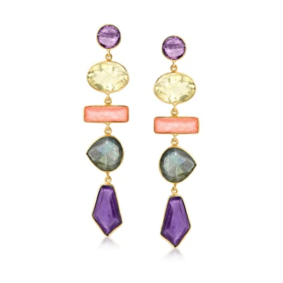 29.00 ct. t.w. Multi-Gemstone Drop Earrings in 18kt Gold Over Sterling