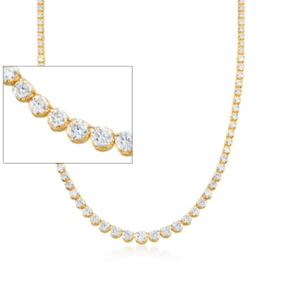 20.00 ct. t.w. Graduated CZ Tennis Necklace in 14kt Gold Over Sterling