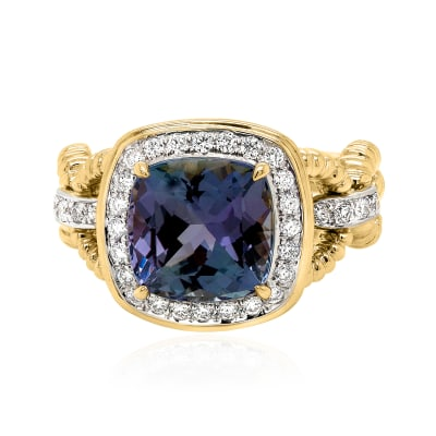 4.50 Carat Tanzanite Ring with .49 ct. t.w. Diamonds in 18kt Yellow Gold