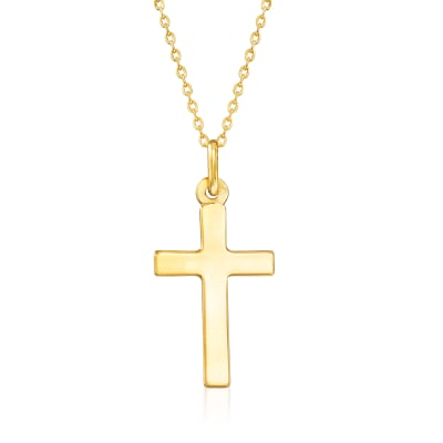 Italian 18kt Yellow Gold Cross Pendant Necklace