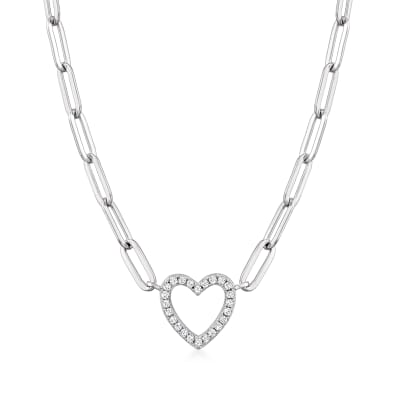 .20 ct. t.w. CZ Heart Paper Clip Link Necklace in Sterling Silver