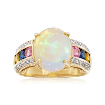 Opal and 1.00 ct. t.w. Multi-Stone Ring in 18kt Yellow Gold Over Sterling Silver