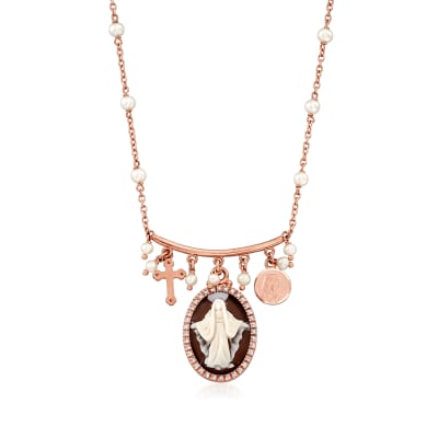 Italian Shell Cameo, 3-3.5mm Cultured Pearl and .10 ct. t.w. CZ Religious Charm Necklace in 18kt Rose Gold Over Sterling