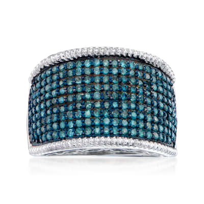 1.00 ct. t.w. Blue Diamond Ring in Sterling Silver