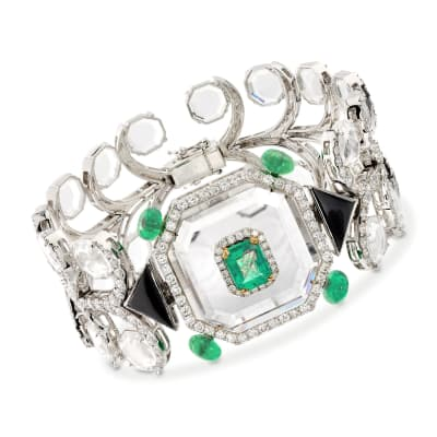 6.25 ct. t.w. Emerald and 5.85 ct. t.w. Diamond Geometric Bracelet with Crystals and Black Onyx in 18kt White Gold