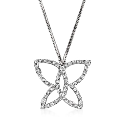 C. 1990 Vintage Damiani .75 ct. t.w. Diamond Open-Space Butterfly Pendant Necklace in 18kt White Gold