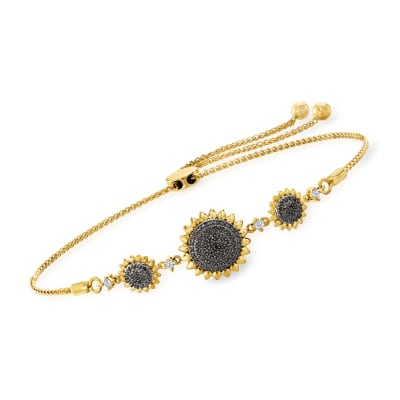 .25 ct. t.w. Black and White Diamond Sunflower Bolo Bracelet in 18kt Gold Over Sterling