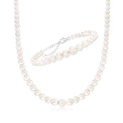 4.5-9.5mm Cultured Pearl Jewelry Set: Necklace and Bracelet with Sterling Silver