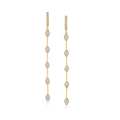 .50 ct. t.w. Diamond Geometric Station Hoop Drop Earrings in 18kt Gold Over Sterling
