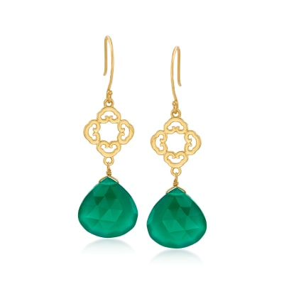 Green Chalcedony Openwork Drop Earrings in 18kt Gold Over Sterling