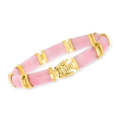 "Pink Jade ""Good Fortune"" Bracelet in 18kt Gold Over Sterling"