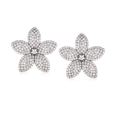 8.85 ct. t.w. Diamond Flower Earrings in 18kt White Gold