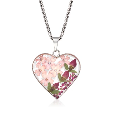 Dried Flower Heart Pendant Necklace in Sterling Silver