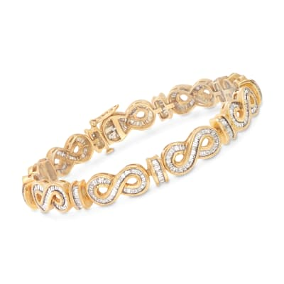 3.90 ct. t.w. Baguette Diamond Infinity Link Bracelet in 14kt Yellow Gold
