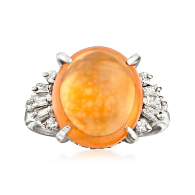 C. 1970 Vintage Fire Opal and .32 ct. t.w. Diamond Ring in Platinum