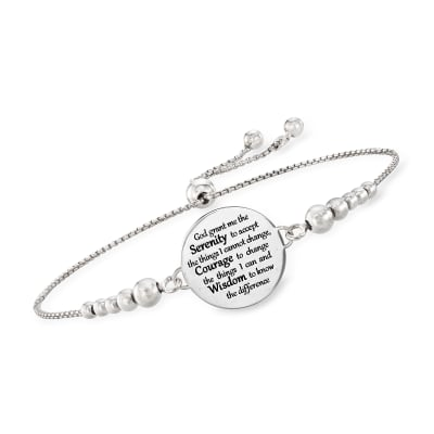 "Italian Sterling Silver ""Serenity Prayer"" Bolo Bracelet"