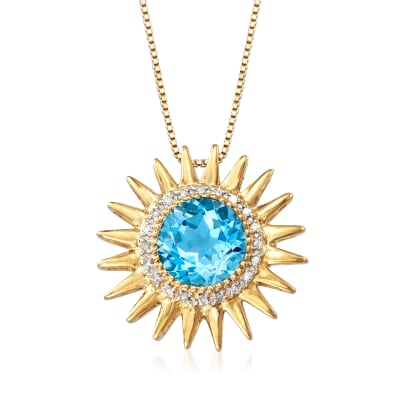 2.90 Carat Blue Topaz and .10 ct. t.w. Diamond Sun Pendant Necklace in 18kt Gold Over Sterling