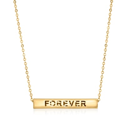 Italian 14kt Yellow Gold Longevity Bar Necklace