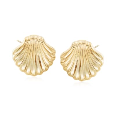 14kt Yellow Gold Scallop Seashell Motif Earrings