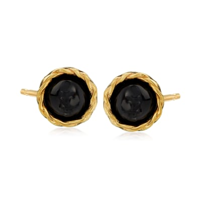 Black Onyx Stud Earrings in Sterling Silver and 14kt Yellow Gold