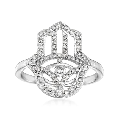 .36 ct. t.w. Diamond Hamsa Hand Ring in 18kt Gold Over Sterling