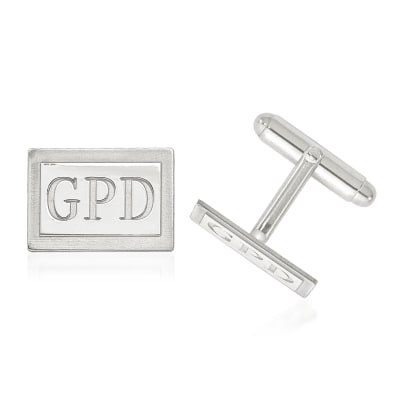 Sterling Silver Laser Design Recessed Letters Rectangle Monogram Cuff Links