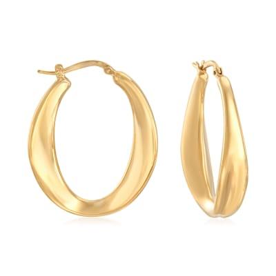 Italian 18kt Gold Over Sterling Oval Hoop Earrings