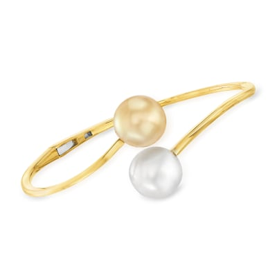 12-13mm Golden and White South Sea Pearl Bangle Bracelet in 18kt Yellow Gold
