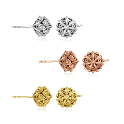 Tri-Colored Sterling Silver Jewelry Set: Three Pairs of Filigree Bead Stud Earrings
