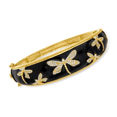 1.30 ct. t.w. White Topaz and Black Enamel Dragonfly Bangle Bracelet in 18kt Gold Over Sterling