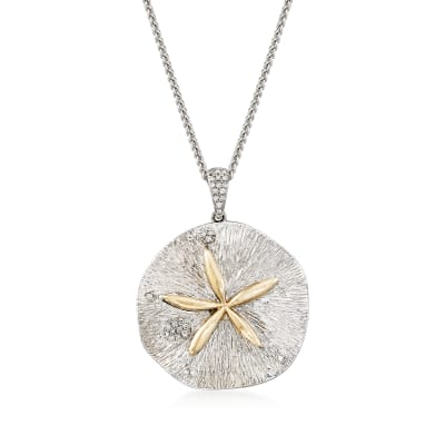 .10 ct. t.w. Diamond Sand Dollar Necklace in Sterling Silver and 14kt Yellow Gold