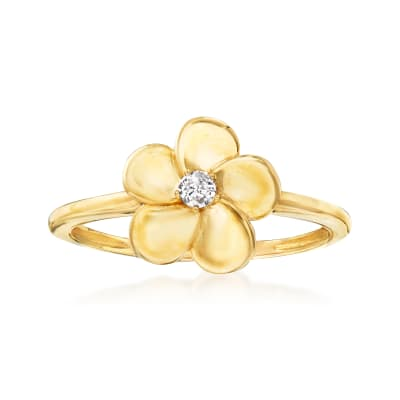 Diamond-Accented Flower Ring in 14kt Yellow Gold