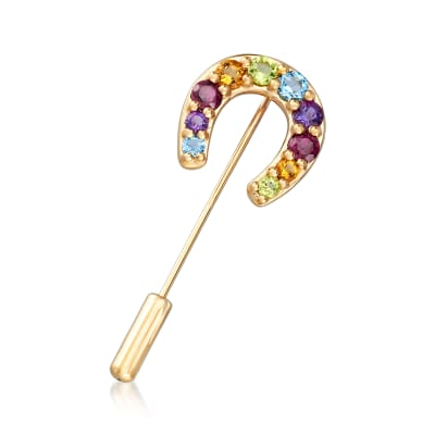 1.90 ct. t.w. Multi-Gemstone Horseshoe Stick Pin in 18kt Gold Over Sterling