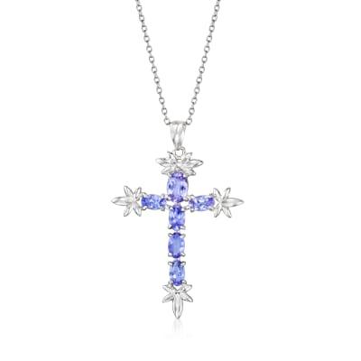 1.30 ct. t.w. Tanzanite Cross Pendant Necklace in Sterling Silver
