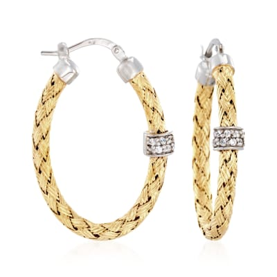 "Charles Garnier ""Torino"" .20 ct. t.w. CZ Oval Hoop Earrings in Two-Tone Sterling Silver"