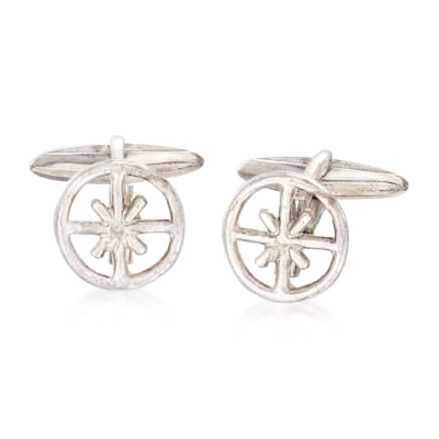 C. 1980 Vintage Buccellati Men's Wheel Cuff Links in Sterling Silver