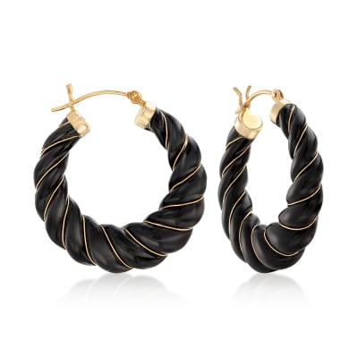 Carved Black Onyx Hoop Earrings with 14kt Yellow Gold