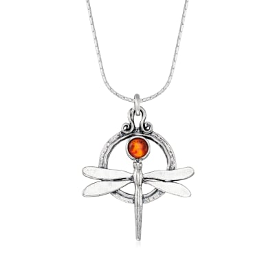 5mm Amber Dragonfly Necklace in Sterling Silver