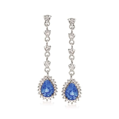 1.70 ct. t.w. Sapphire and .48 ct. t.w. Diamond Drop Earrings in 14kt White Gold