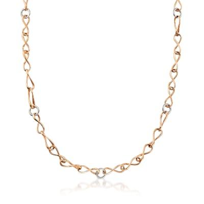 C. 1990 Vintage 18kt Two-Tone Gold Link Necklace